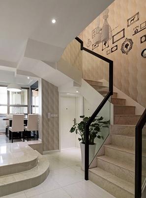 烟台欧式钢木玻璃楼梯